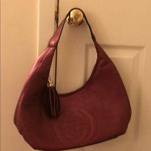 Pink metallic shoulder hobo bag
